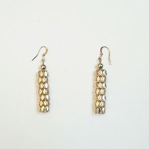 Jewelry - Gold Tone Mesh Flexible 3D Dangle Earrings